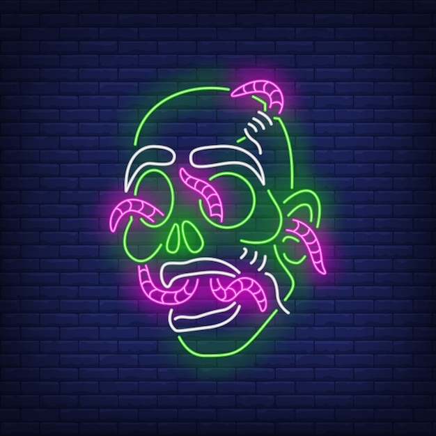 Zombie head with worms neon sign Free Vector