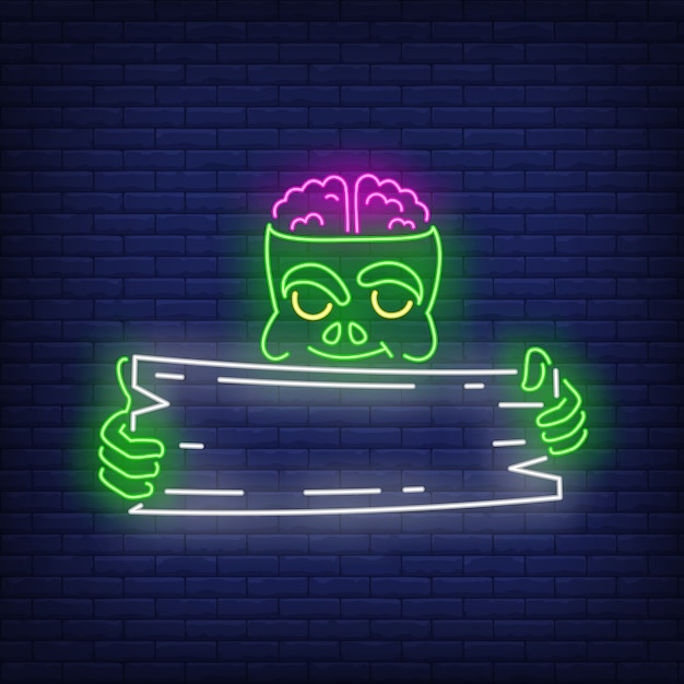 Zombie holding wooden signboard neon sign Free Vector