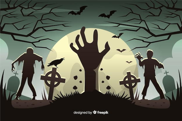 Zombie invasion background in flat design Free Vector