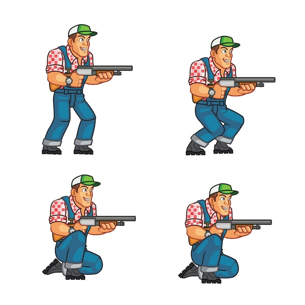 Zombie killer red neck american farmer game character animation sprite Premium Vector