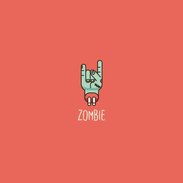 Zombie logo on a red background Free Vector