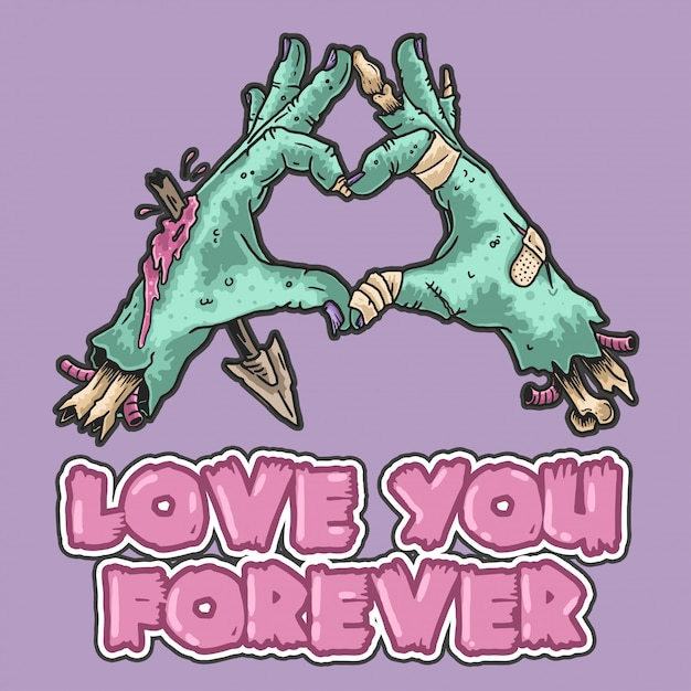 Zombie love you forever Premium Vector