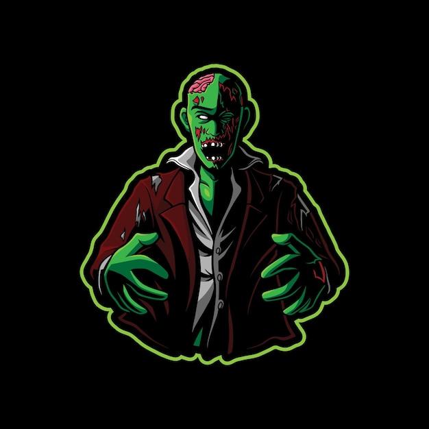 Дизайн логотипа талисмана зомби Premium векторы