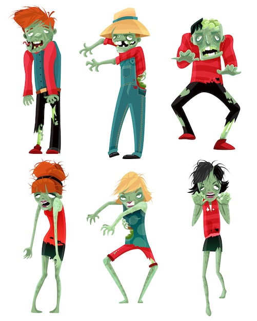 Zombie monsters characters game figures set Free Vector