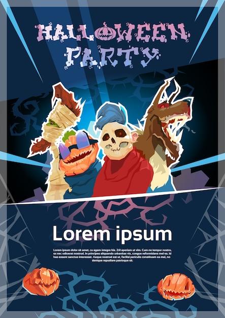 Zombie night poster invitation banner card Premium Vector