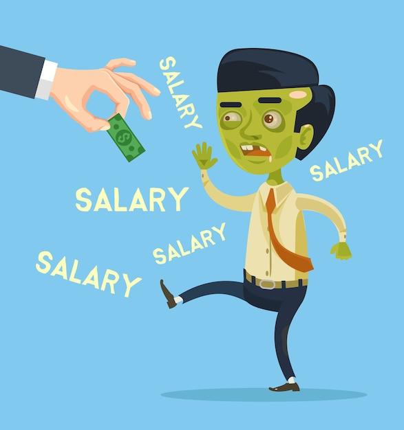 ゾンビサラリーマンのキャラクターが給料をキャッチしてみてください。フラット漫画イラスト Premiumベクター