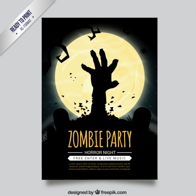 Zombie Party Flyer Vector | Premium Download
