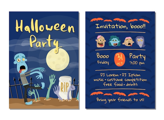 Zombie Party Invitation Card With Walking Dead Man Vector