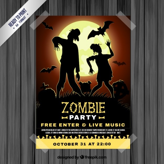 Zombie party poster Free Vector