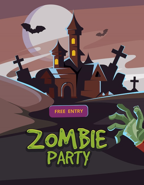 Zombie party vector illustration. Premium Vector
