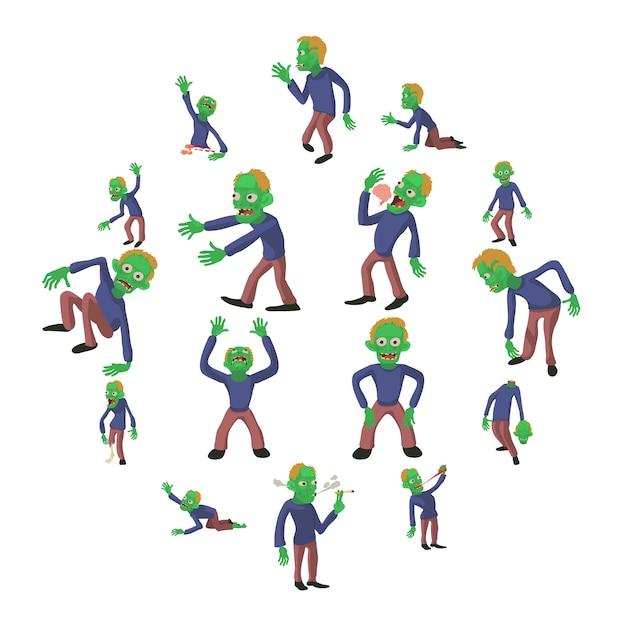Zombie poses icons set, cartoon style Premium Vector