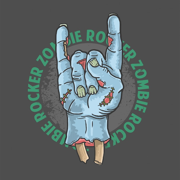 Zombie rocker hand halloween illustration vector Premium Vector
