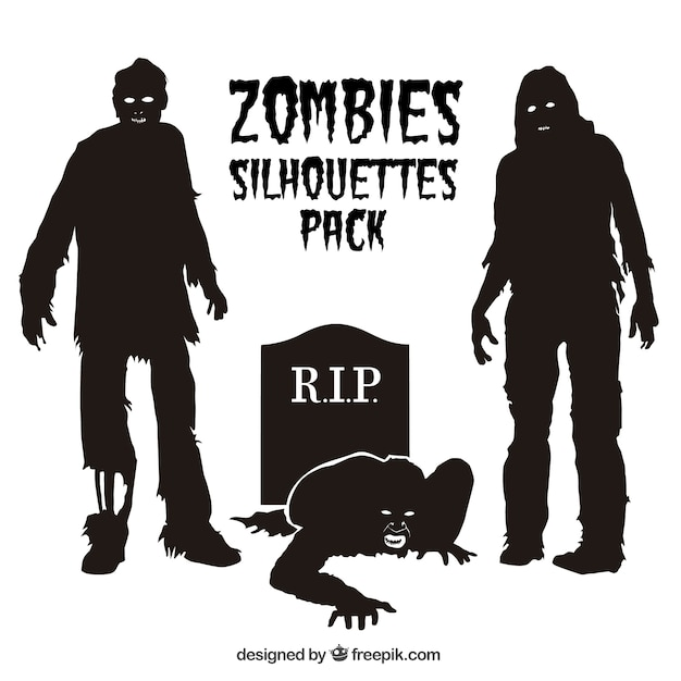 zombie silhouettes pack vector free download