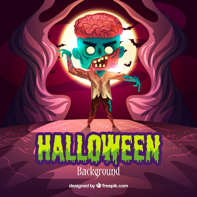 Zombie walking background Free Vector
