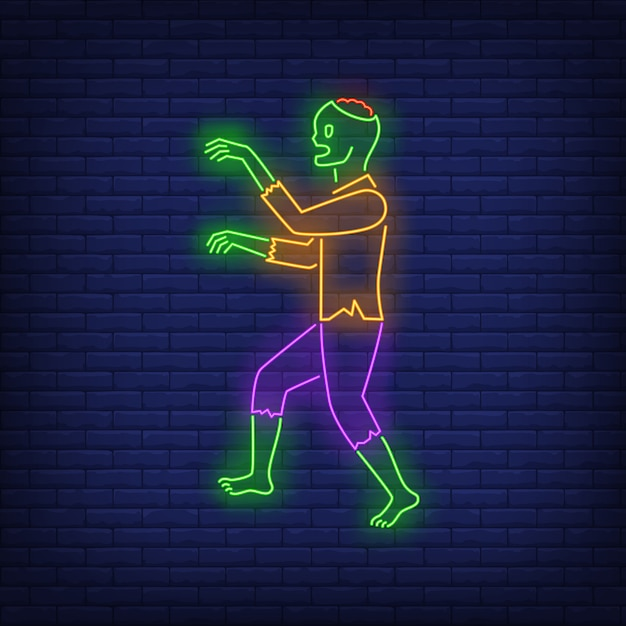 Zombie walking neon sign Free Vector