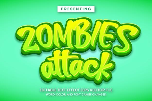 ゾンビが漫画ゲームのロゴスタイルの編集可能なテキスト効果を攻撃する Premiumベクター