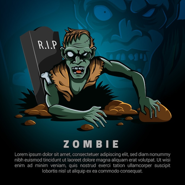 Zombies come out of the grave logo template Premium Vector