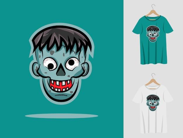 ゾンビハロウィンマスコットデザインtシャツ付き。 Premiumベクター