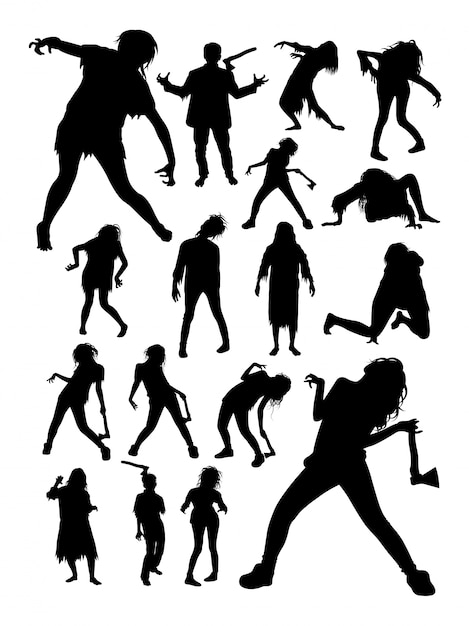 Zombies horror halloween silhouettes. Premium Vector