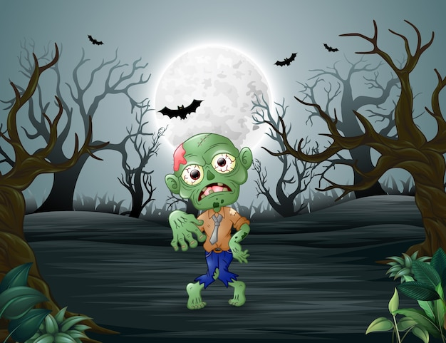 Zombies walking terrorizing in the dead forest Premium Vector