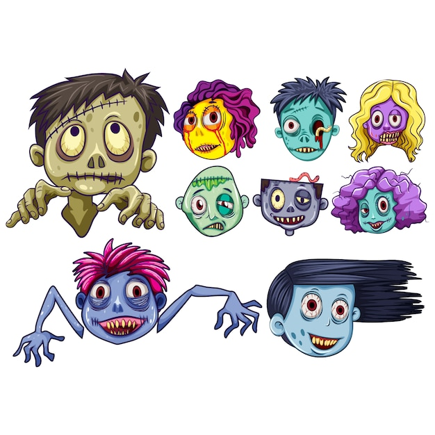 Zomfie faces collection Free Vector