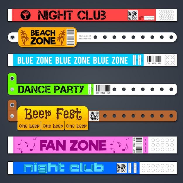 Zone entrance bracelets isolates. concert or hotel vector plastic wristbands. bracelet for hand, armlet for entrance and admit illustration Premium Vector