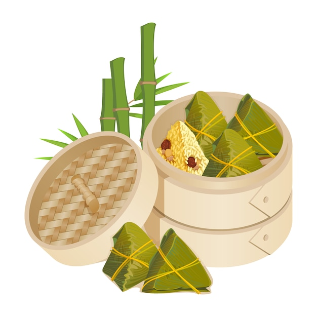 Zongzi in takeaway container isolated vector on white Premium Vector