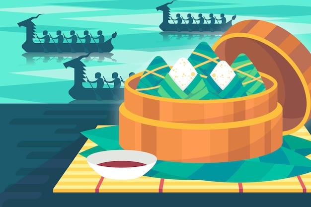 Фон zongzi лодка-дракон плоский стиль Бесплатные векторы