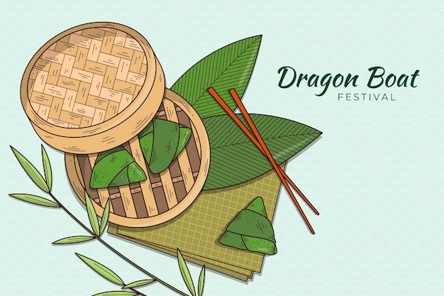 Ручной обращается фон дракона лодка zongzi Бесплатные векторы
