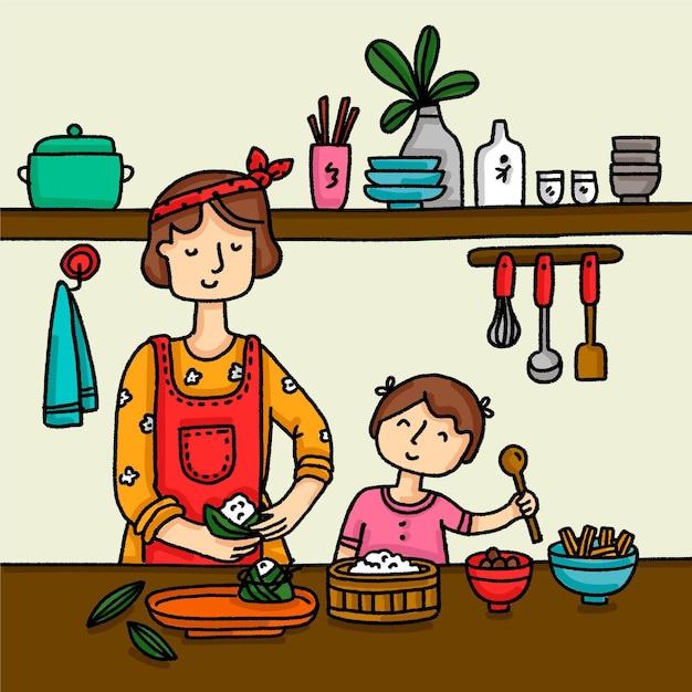 家族zongzi手描きスタイルの準備 無料ベクター