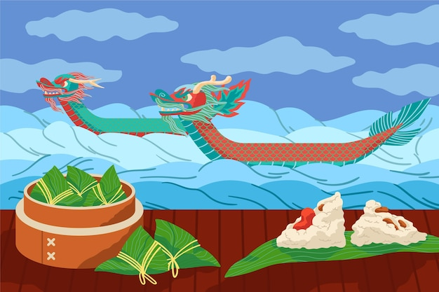 フラットなデザインのドラゴンボートのzongzi背景 無料ベクター