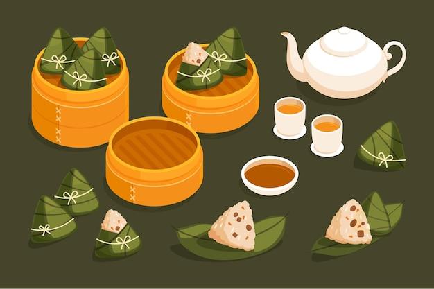 Коллекция zongzi лодок-драконов в плоском дизайне Бесплатные векторы