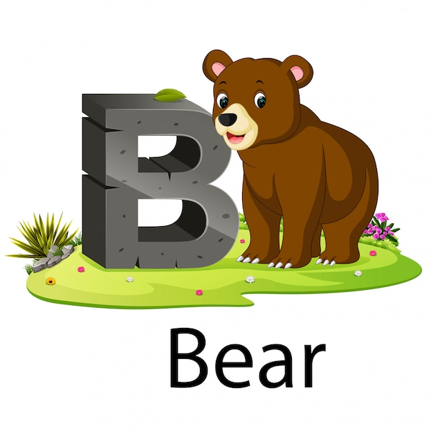 Zoo animal alphabet b for bear with the animal beside Premium Vector