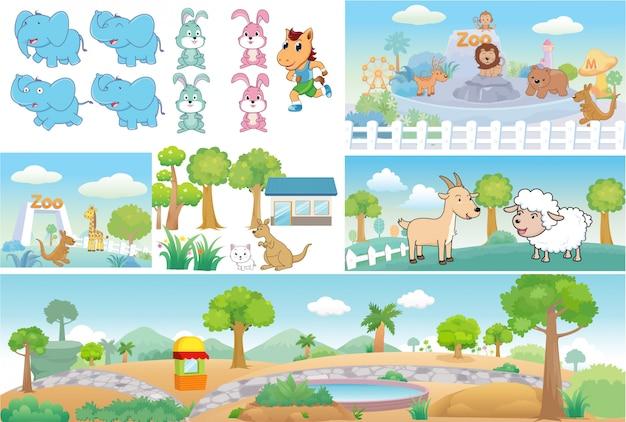 Zoo and animal cute cartoon Premium Vector