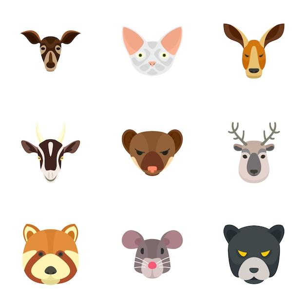 動物園の動物アイコンセット、フラットスタイル Premiumベクター