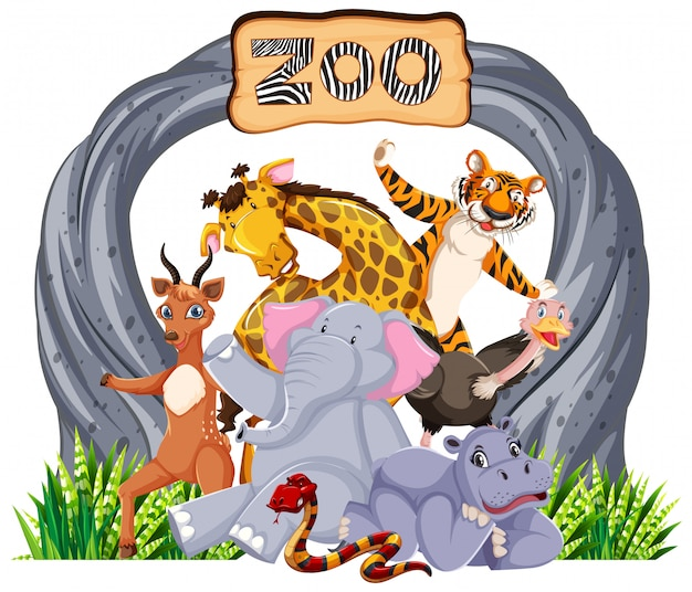 エントランスサインで動物園の動物 無料ベクター