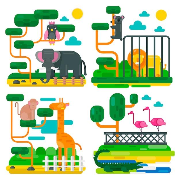 Zoo animals and birds cartoon vector illustration Premium Vector