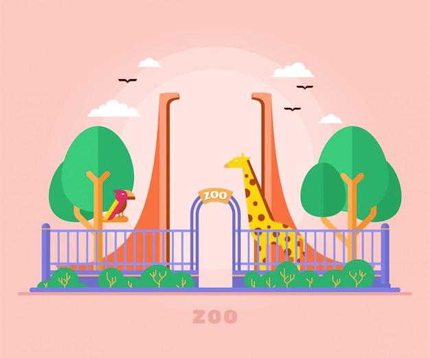 Вход в ворота зоопарка с птицами и жирафами Premium векторы