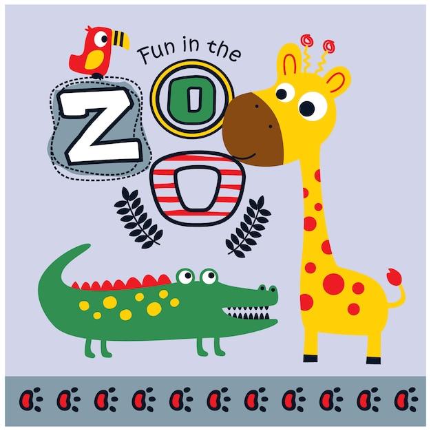 Zoo animals funny cartoon, vector illustration Premium Vector