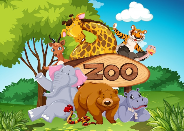 野生の自然の背景にある動物園の動物 無料ベクター