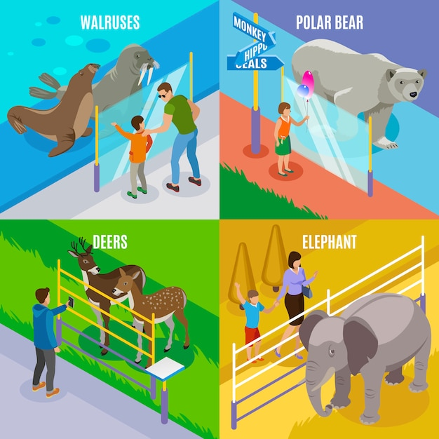 Concetto di progetto isometrico degli animali dello zoo Vettore gratuito