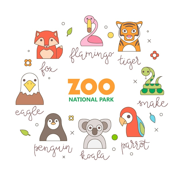 Zoo animals portrait with flat design Free Vector