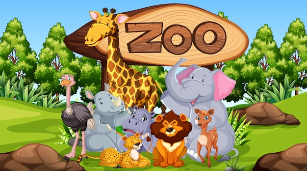 Zoo animals in the wild nature background Free Vector