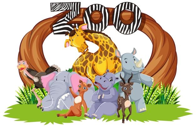 Animali dello zoo sullo sfondo della natura selvaggia Vettore gratuito
