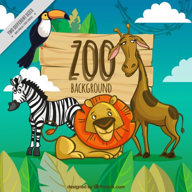 Zoo background with cartoon animals Free Vector