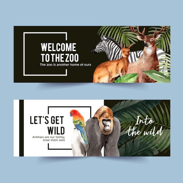 Дизайн баннера зоопарка с гориллой, зеброй, иллюстрацией акварели оленей. Бесплатные векторы