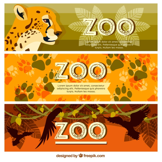 Zoo banners with wild animals and footprints Free Vector