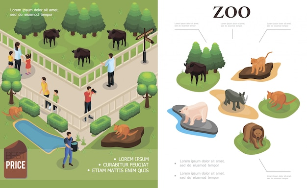 Zoo colorful composition with visitors watching and photographing buffalos kangaroos and different animals in isometric style Free Vector
