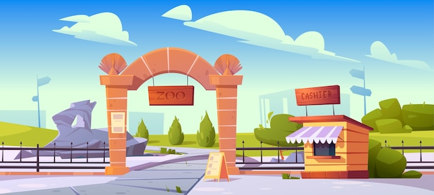 Zoo entrance with wooden board on stone arch and cashier booth. zoological garden for wild animals. cartoon landscape with entry gates, metal fence, signboard and green bushes Free Vector