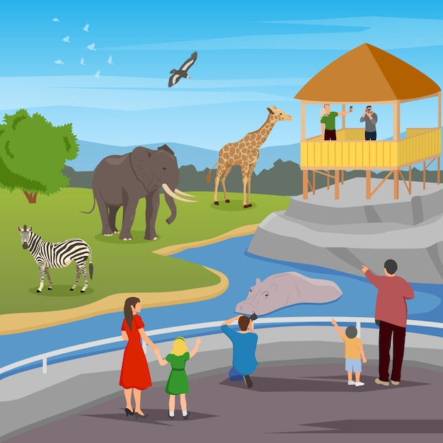 Zoo flat cartoon composition Free Vector